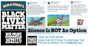brand activism - Ben and Jerry's ice cream ad supporting Black Lives Matter.