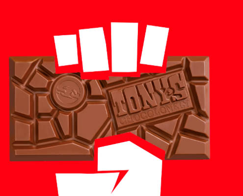 sustainability marketing - a graphic design of a white hand holding a chocolate bar against a red background